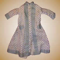 Antique Early 19th Century Calico And Gingham Sky Blue Doll Dress