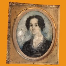 Antique Early Mid 19th Century Beautiful Painted Miniature Portrait On Bone