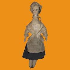 Antique American Folk Art Pencil Shape Painted Face Cloth Rag Doll