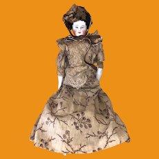 "Antique German 12"" 19th Century All Original China Head Doll"
