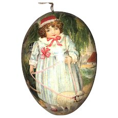 "Antique German Lithograph Storybook ""Mary Had A Little Lamb"" Easter Egg Candy Container With Dresden Trim"