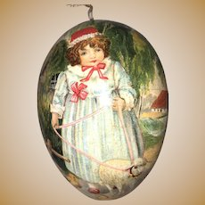 """Antique German Lithograph Storybook """"Mary Had A Little Lamb"""" Easter Egg Candy Container With Dresden Trim"""