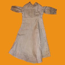 Antique Early Striped Cotton Old Lace Collar Doll Dress