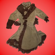 """Antique Early Fashion Doll Dress For 20"""" Doll"""