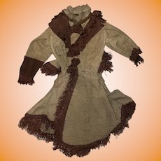 "Antique Early Fashion Doll Dress For 20"" Doll"
