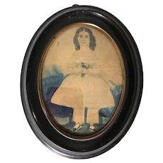 Antique American Folk Art School Girl New England Early Watercolor