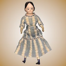 Antique German Rare Paper Mache Glass Eyed Early Covered Wagon Hair Style Doll With Wooden Body