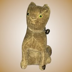 Antique Early Victorian Excelsior Filled Theorem Velvet Glass Eyed Kitty Pin Cushion