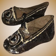 Antique Leather Early French  Fashion Doll Shoes