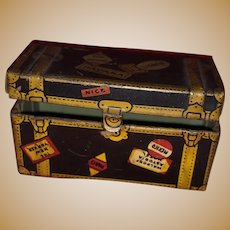 Antique Marx Tin Lithogragh Miniature Traveling Dollhouse Trunk With Labels