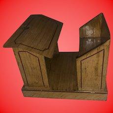 Antique Jappaned Finish Tole Decorated Schoolhouse Miniature Dollhouse Desk
