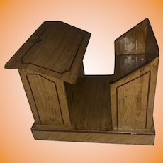 Antique Jappaned Finish Tole Decorated Schoolhouse Miniature Dollhouse Desk