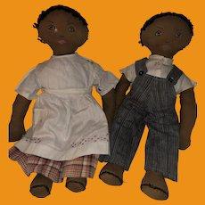 Old American Folk Art Black Americana Ohio Rare Twin Church Dolls