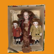 3 German Antique  All Bisque Dollhouse Dolls In Christmas Presentation Gift 375Box