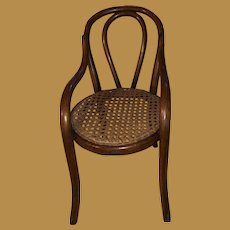 Antique Rare  Bentwood Miniature Caned Child's Side Chair