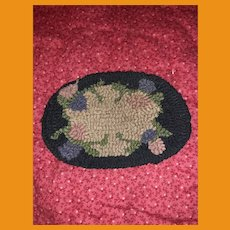 Antique Miniature Dollhouse Hooked Rug Mat