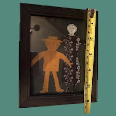 Antique Early Textile Cutout Fabric Paper Type Dolls