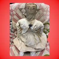 "Antique Early American Folk Art Ink Face 28"" Cloth Rag Doll"