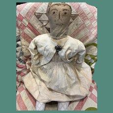 "Antique Early American Folk Art Ink Face 28"" Cloth Rag Doll"