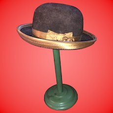 Antique Salesman Sample Felted Wool Hat With Hat Stand