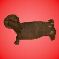 Antique American Folk Art Cloth Rag Doll Dachshund Puppy Dog Figural Sewing Pin Cushion
