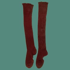 Antique Early Turkey Red Cotton Child's Socks