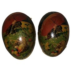Antique German Paper Mache Lithogragh Easter Egg Candy Container