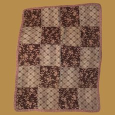 Antique Early School Girl  Calico New England Sampler Miniature Quilt