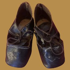Antique Black Oil Cloth Fashion Doll Shoes With Heels