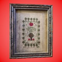 Antique Early Petit Point Miniature Framed Embroidery Sampler