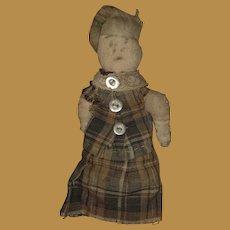 Antique American Folk Art Pencil Face Miniature Hand Held Cloth Pocket Doll