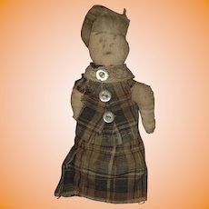 Antique American Folk Art Pencil Face Miniature Hand Held Cloth Pocket Doll