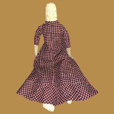 Antique American Folk Art Stitched Face Cloth Rag Doll