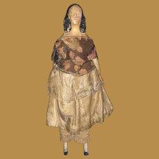 Antique German Paper Mache Wood Early Milliner Model Doll
