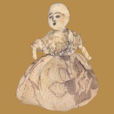 Antique American Folk Art Miniature Make Do Hand Drawn Face Cloth Rag Doll