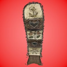 Antique Georgian Jewel Embroidered Rare Early 19th Century Needle Case Wallet Sailers Sewing Roll
