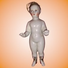 Antique German Rare Dome 19th Century Frozen Charlotte Porcelain Doll