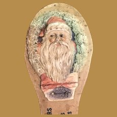Antique German Pressed Paper Embossed Dresden Christmas Santa Noise Maker Clapper