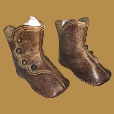Antique Early French Fashion Keystone Leather Doll Shoes