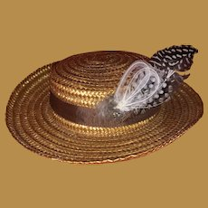 Antique Woven Straw Doll Hat With Feather Accent