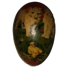 Antique German Rare Miniature Lithogragh Kitty Cat Paper Mache Egg Candy Container