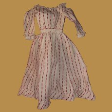 Antique Early Hand Stitched Linen Striped Doll Dress