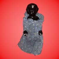 Antique German Black Porcelain 19th Century Frozen Charlotte Doll In Blue Calico Dress
