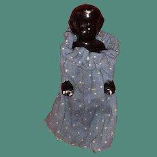 Antique German Black Porcelain 19th Century Frozen Charlotte Doll In Blue Calico Dress