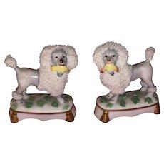 Antique German 19th Century Staffordshire Type Miniature Porcelain Poodles Holding Baskets