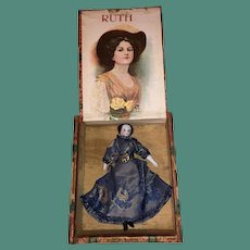 """Antique German 19th Century Miniature Dollhouse China Head Doll In Early Wooden """"Ruth"""" Cigar Box"""
