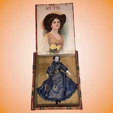 "Antique German 19th Century Miniature Dollhouse China Head Doll In Early Wooden ""Ruth"" Cigar Box"