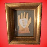 Antique Folk Art Heart And Hand Paper Cutout In Wooden Gold Gilt Shadow Box Frame