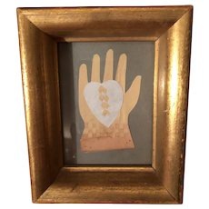Antique Folk Art Heart And Hand Paper Cutout In Wooden Gold Gilt Shadow Box Frame