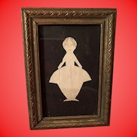 Antique Early Folk Art Pencil Sketch Paper Doll